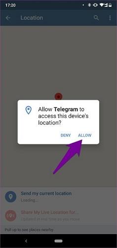 نحوه ارسال لوکیشن در تلگرام