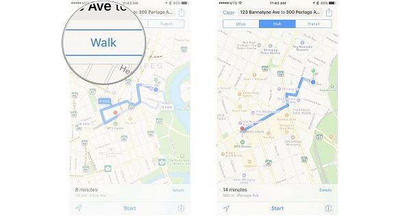 چگونه از Maps برای راه رفتن، دوچرخه سواری و حمل و نقل عمومی استفاده کنیم؟