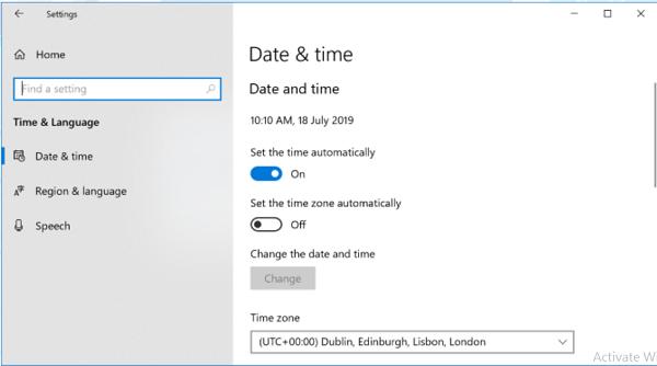 چک کردن تاریخ و ساعت برای رفع مشکل مایکروسافت استور
