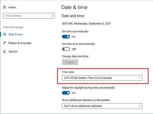 تنظیم زمان ویندوز برای حل مشکل دیسکورد