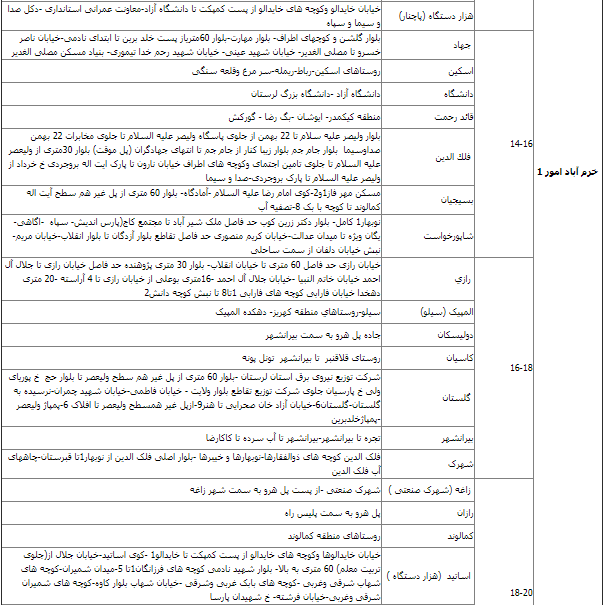 زمان بندی قطع برق لرستان 1400 ؛ جدول قطعی برق خرم آباد چگونه است؟