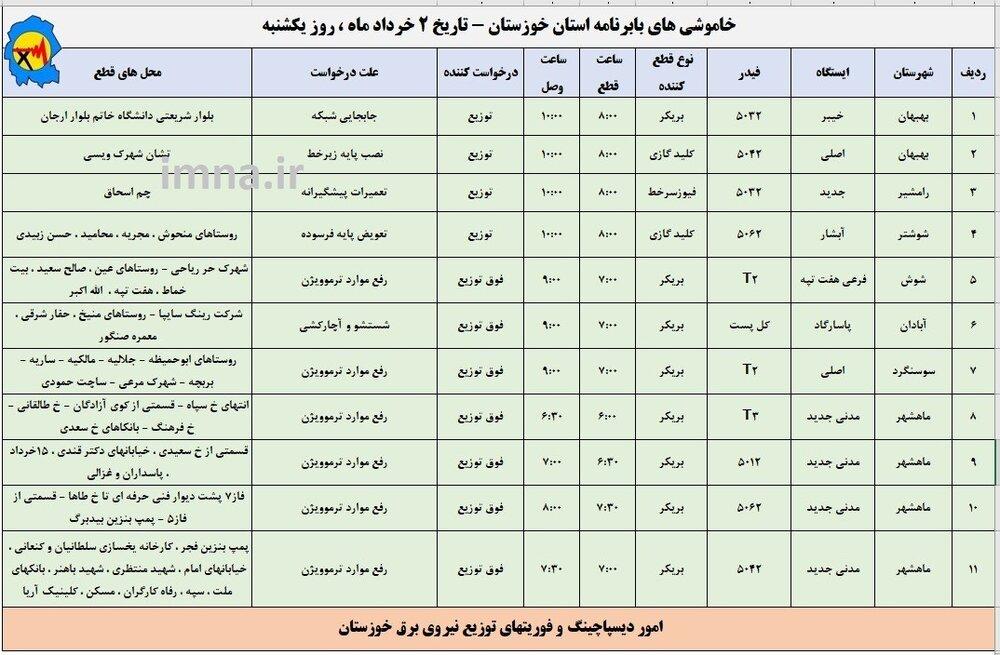 برنامه قطعی برق خوزستان 1400 (اهواز)