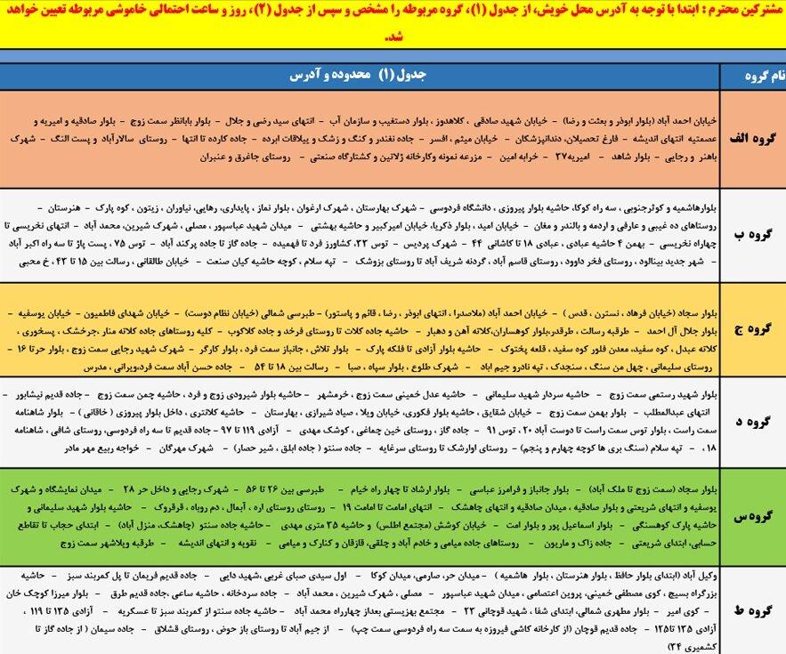 گروه بندی 12 گانه قطعی برق مشهد 1 تا 7 خرداد 1400