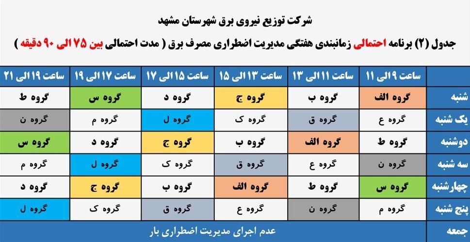 برنامه احتمالی زمان بندی هفتگی قطعی برق مشهد خرداد 1400:
