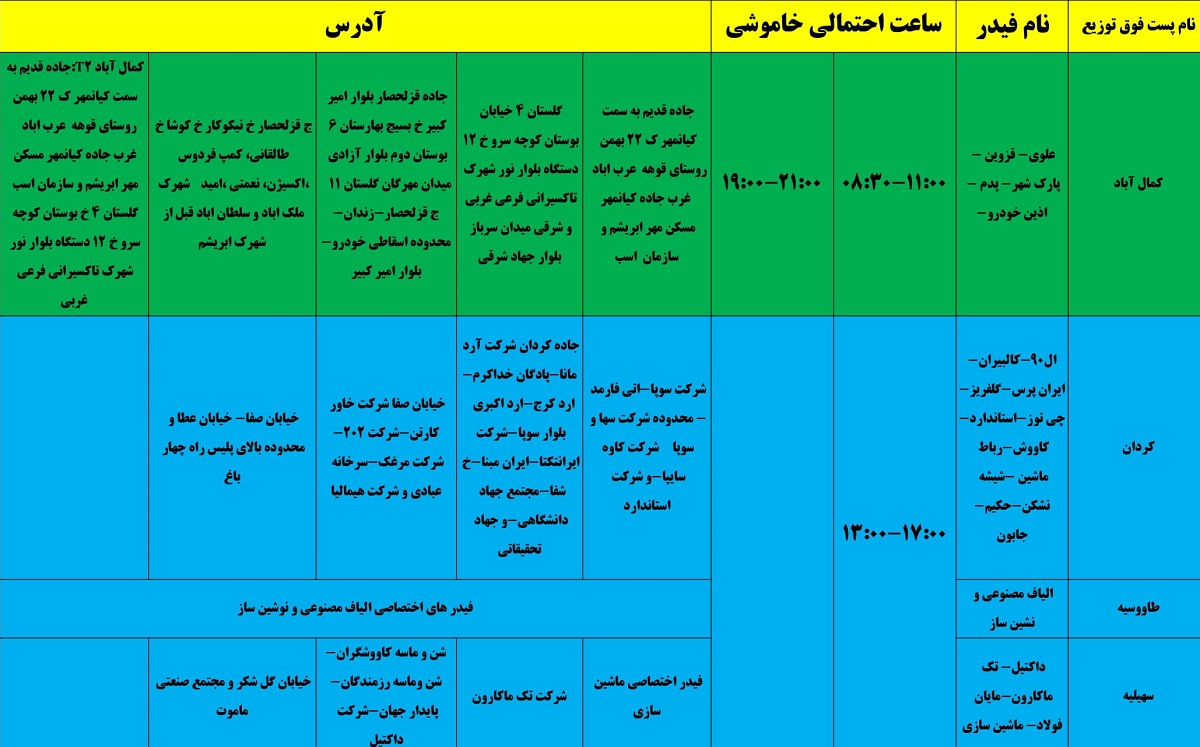 برنامه قطع برق 24 خرداد 1400 البرز