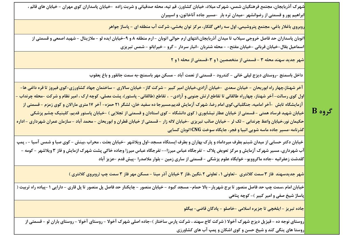 جدول قطعی برق امروز 24 خرداد 1400 تبریز