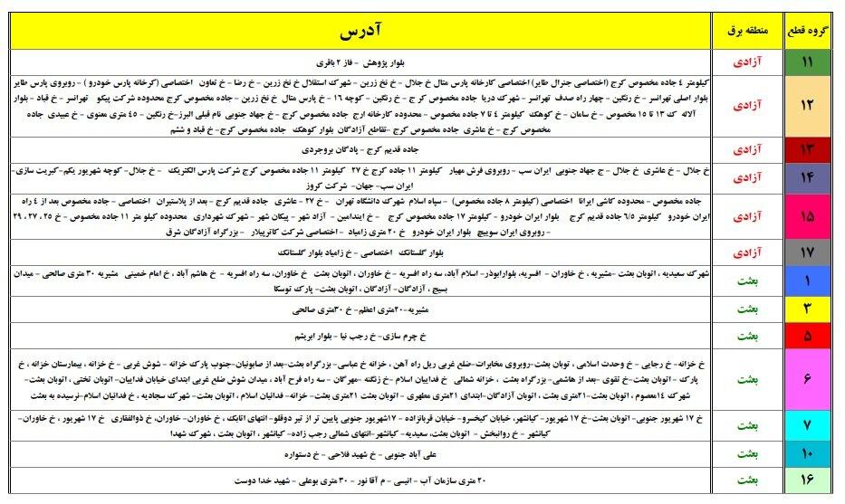 جدول قطعی برق امروز 18 خرداد 1400 همه استانهای کشور