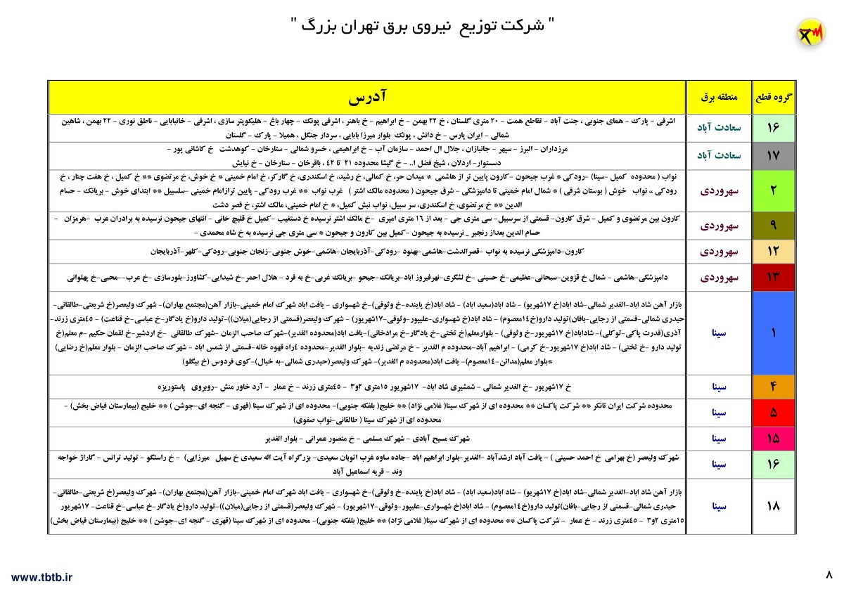 جدول قطعی برق امروز 25 خرداد 1400