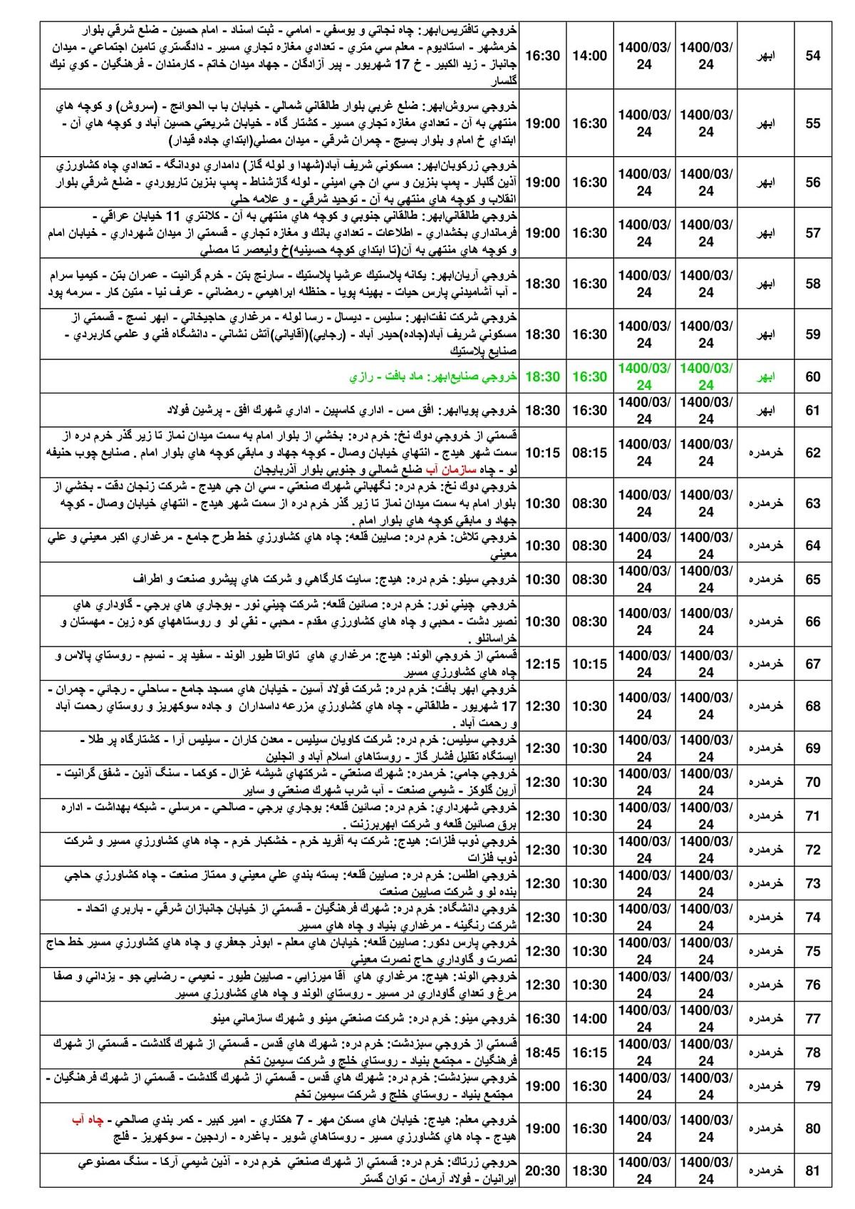 جدول قطعی برق امروز 24 خرداد 1400 زنجان