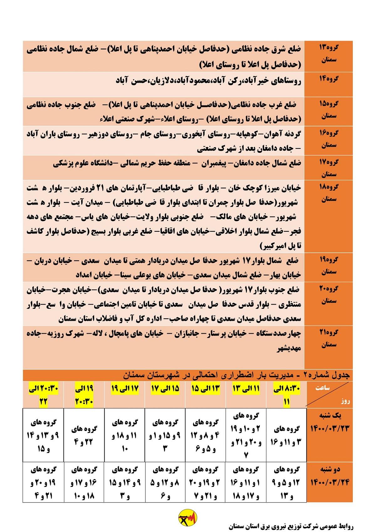 جدول زمان بندی قطعی برق امروز 24 خرداد 1400 سمنان