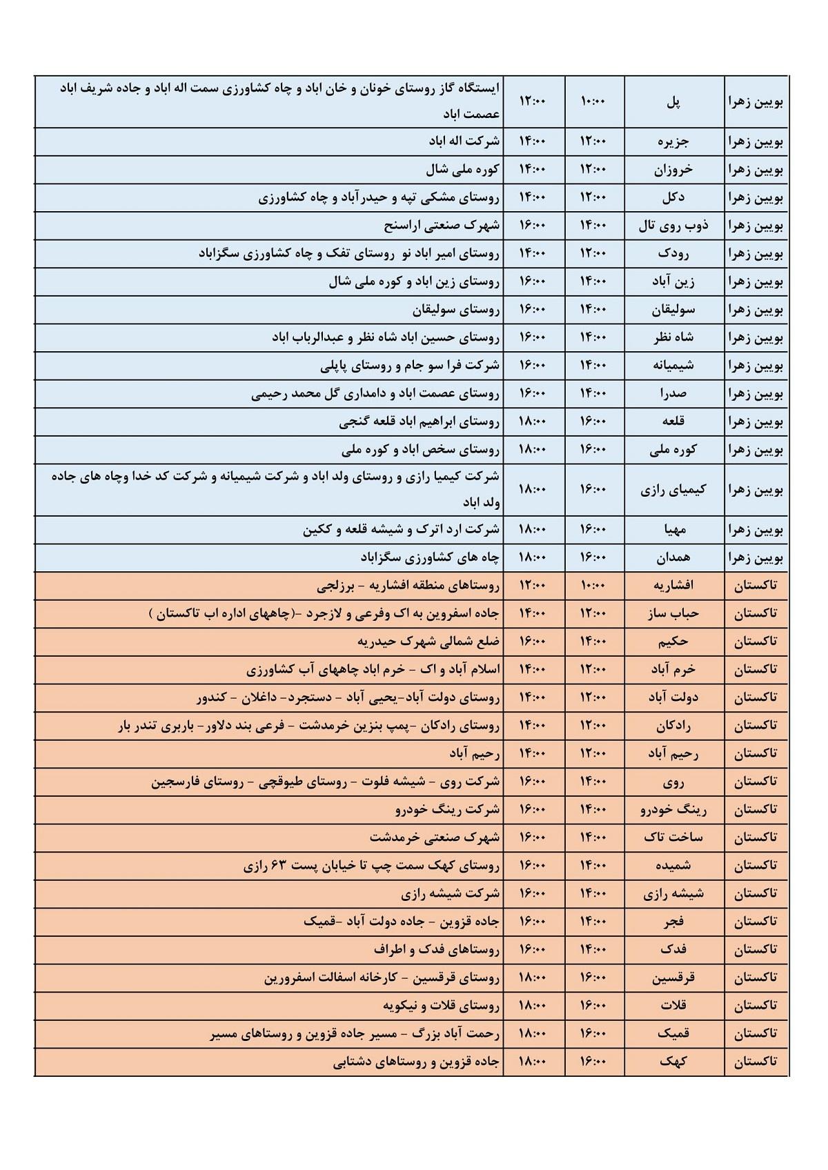 برنامه قطع برق 24 خرداد 1400 قزوین