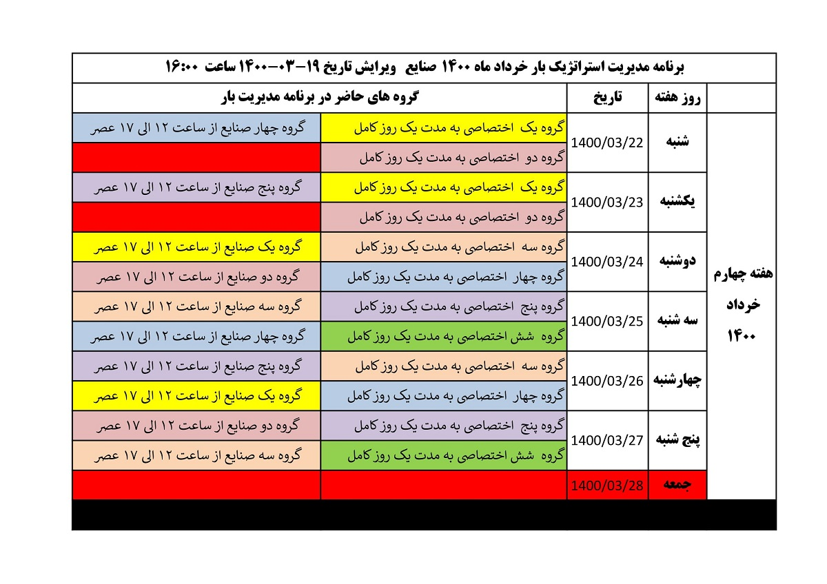 جدول قطعی برق امروز 24 خرداد 1400 مرکزی