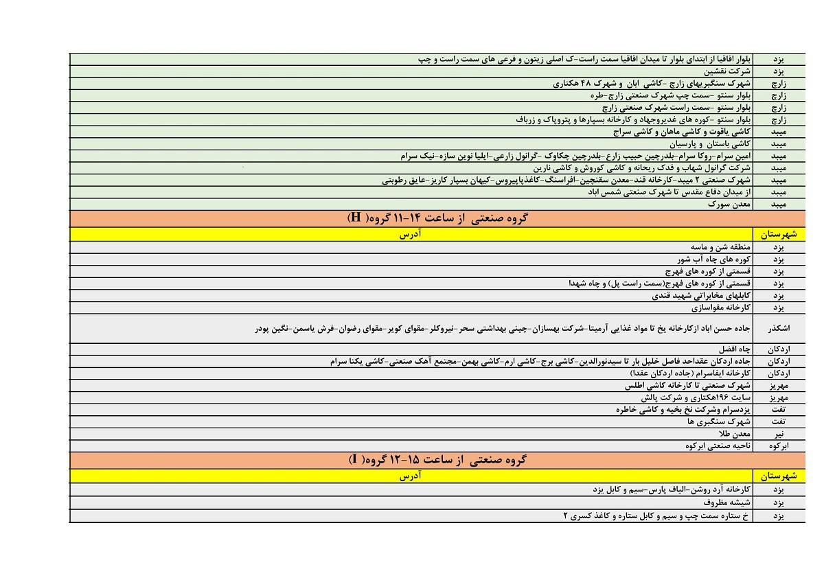 جدول قطعی برق امروز 24 خرداد 1400 یزد