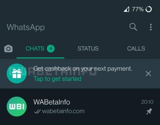 توسعه قابلیت جدید Cashback توسط واتساپ